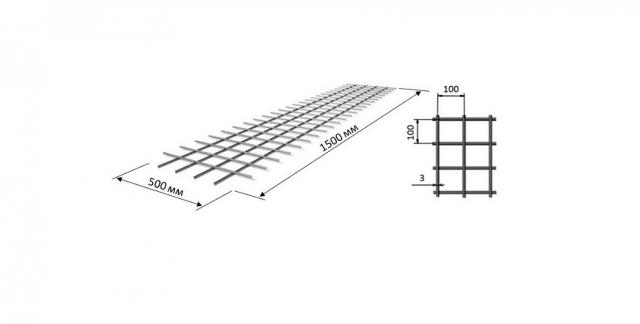 Сетка кладочная 1,5*0,5 ячейка 100*100 мм D=3 мм
