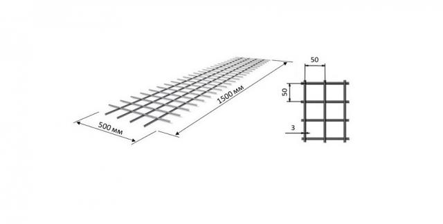 Сетка кладочная 1,5*0,5 ячейка 50*50 мм D=3 мм