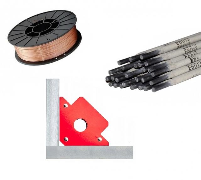Электроды, проволока сварная, уолки и угольники магнитные