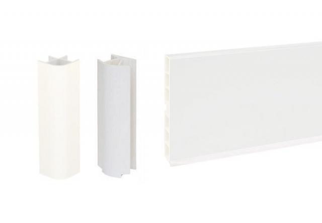 Цоколь кухонный ПВХ белый и комплектующие