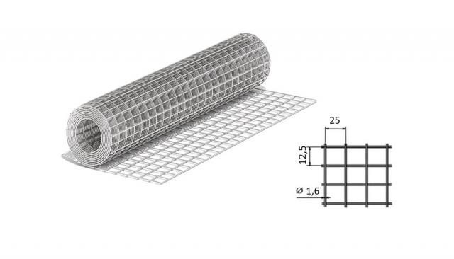 Сетка сварная из оцинкованной проволоки 25*12,5*1,6 мм