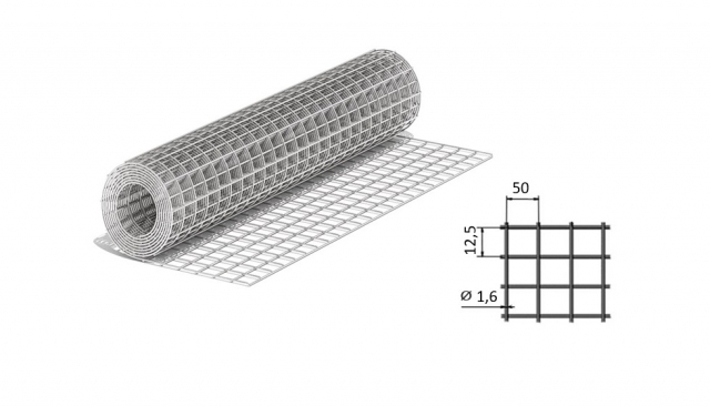 Сетка сварная из оцинкованной проволоки 50*12,5*1,6 мм