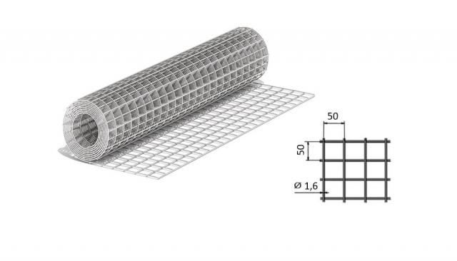 Сетка сварная из оцинкованной проволоки 50*50*1,6 мм