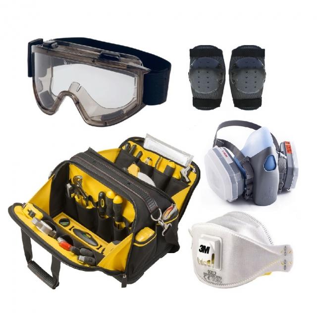 Сумки для инструментов, наколенники, очки для защиты, распираторы