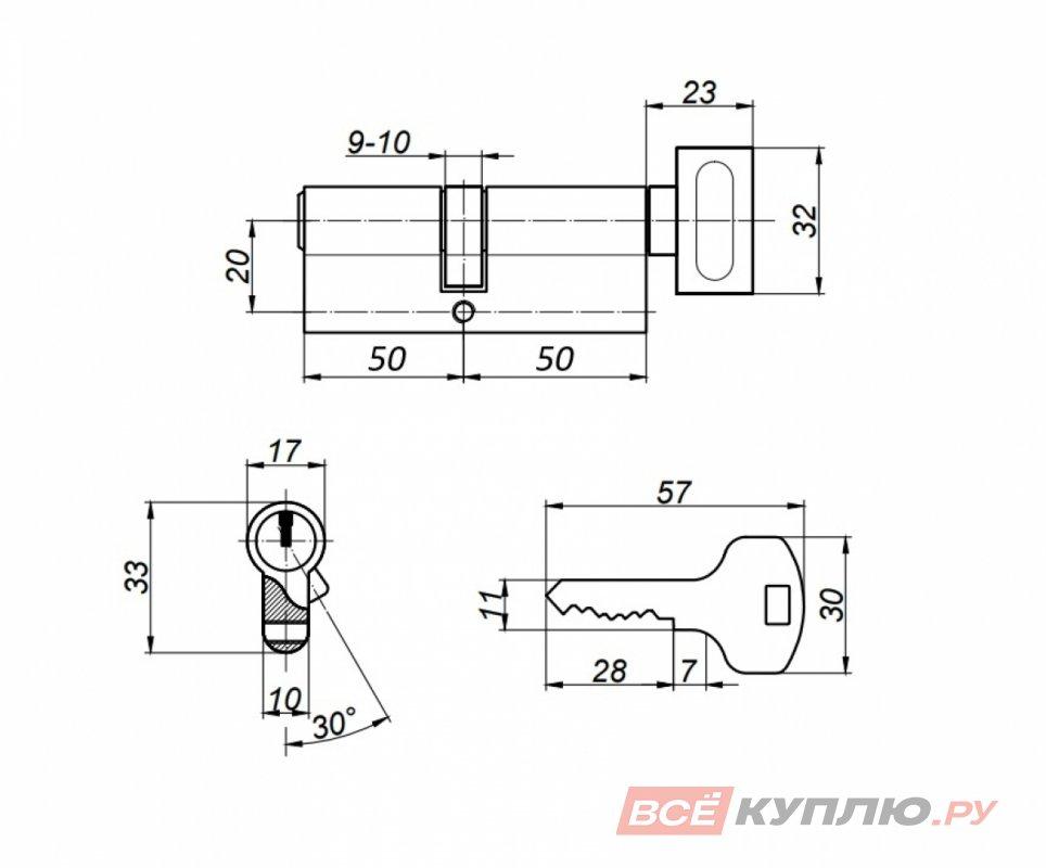 Механизм цилиндровый Апекс SC-100-Z-C-никель (5574)