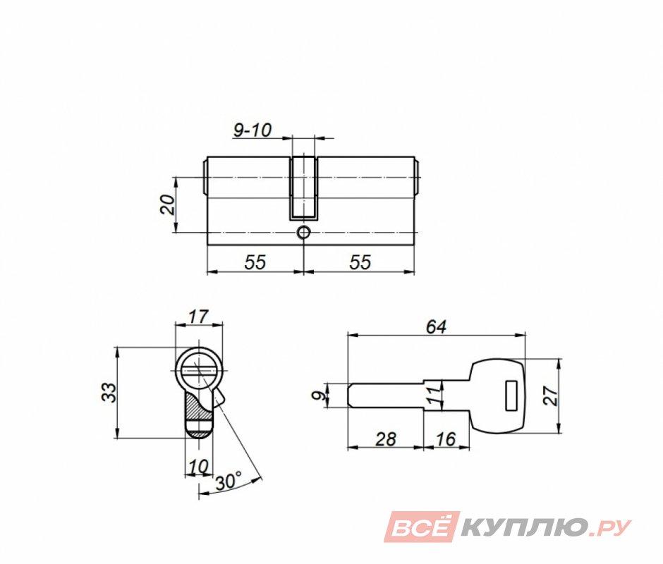 Механизм цилиндровый Апекс RT-110-Ni никель (8958)