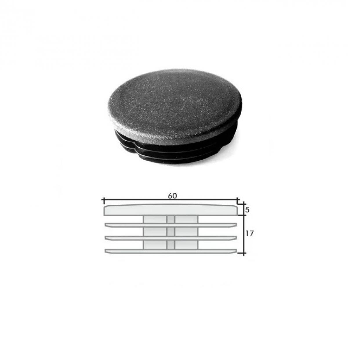 Заглушка ПВХ на круглую трубу внутренняя D=60 мм