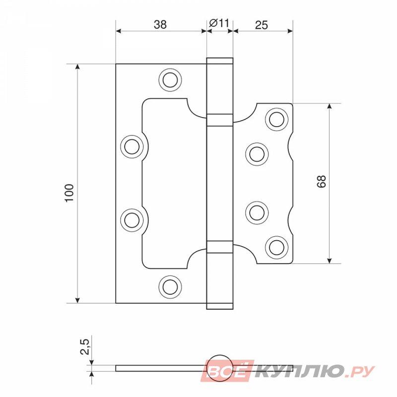 Петля дверная Апекс 100*75-В2-NIS матовый никель