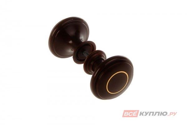 Ручка-кнопка Башкирия РДП-01-3 темное дерево с золотым кольцом (2358)