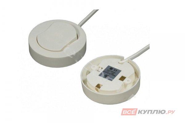 Выключатель накладной мебельный D66 мм, 250B, 2,5A H16мм, с проводом 0,2м белый (14888)