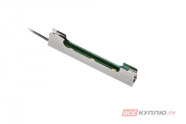 Клипса металлическая для стеклянной полки светодиодная на стекло 8 мм, 3 диода, 0,25W, 12V, 2 м провод, теплый свет