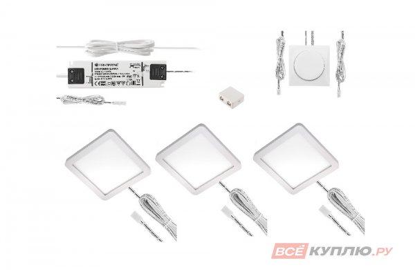 Комплект из 3-х точечных накладных светодиодных светильников LED с кабелем и контролером 24V.12,6W, 3000-5500 K, 750лм, IP20, белый (16864)