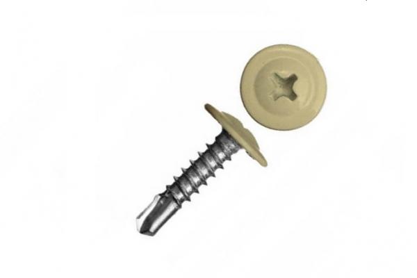 Саморез прессшайба 4,2*32 мм цинк сверло RAL 1014 Слоновая кость