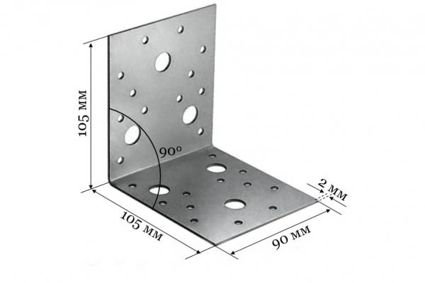 Уголок крепежный KU 105*105*90*2 мм