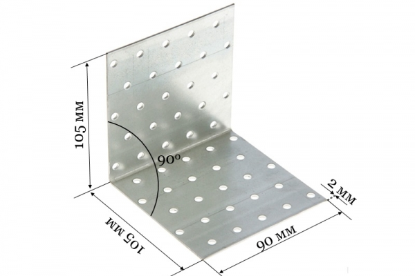 Уголок крепежный равносторонний KUR 105*105*90*2 мм