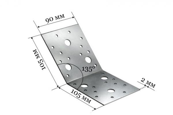 Уголок крепежный под 135 градусов KUS 105*105*90 мм