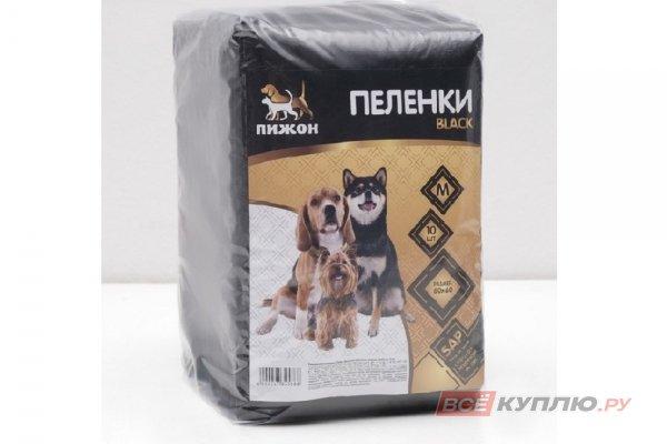 """Пеленки впитывающие """"Пижон Black"""" для животных, гелевые, 60 х 60 см (в упаковке 10 шт.)"""