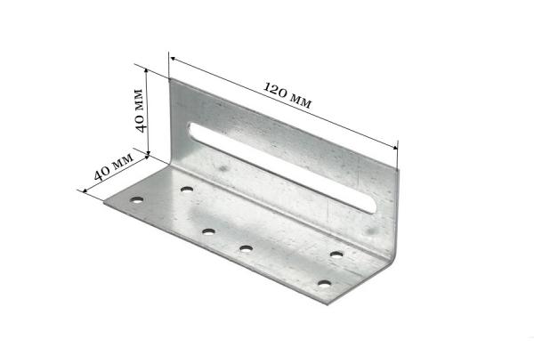Уголок крепежный скользящий 40*40*120 мм KUS
