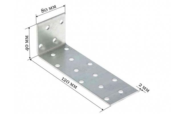 Уголок крепежный анкерный KUL 40*120*80*2 мм