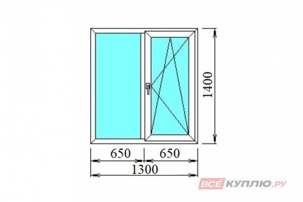 Окно ПВХ двустворчатое 1300*1400 мм глухое/поворотно-откидное правое
