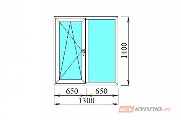 Окно ПВХ двустворчатое 1300*1400 мм поворотно-откидное левое/глухое