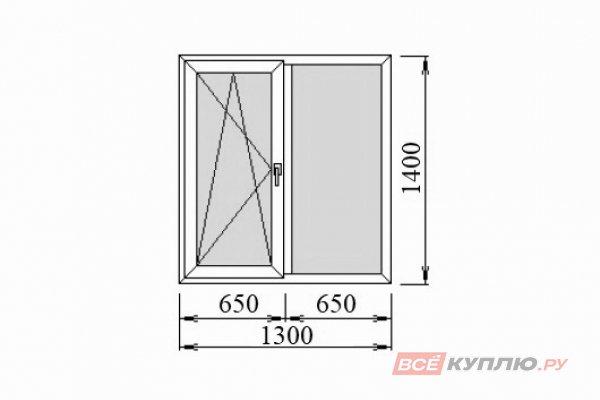 Окно ПВХ Deceuninck двустворчатое 1300*1400 мм поворотно-откидное левое/глухое