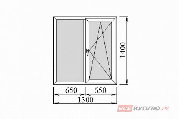 Окно ПВХ Deceuninck двустворчатое 1300*1400 мм глухое/поворотно-откидное правое