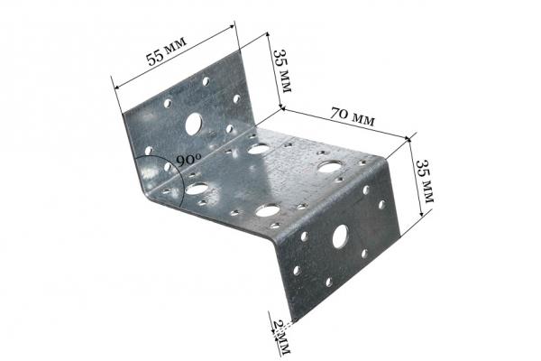 Уголок крепежный Z-образный KUZ 35*70*55 мм