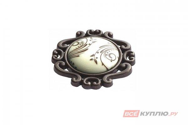 Ручка-кнопка мебельная Giusti P41 бронза кантри, крем фарфор, коричневая вензель