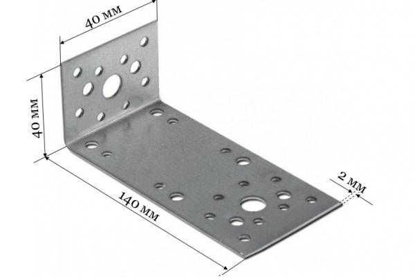 Уголок крепежный ассиметричный KUAS 140*40*40*2 мм