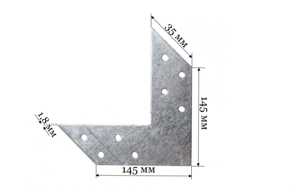 Соединитель угловой US 145*145*35*1,8 мм