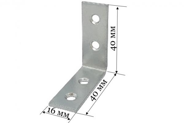 Уголок бытовой крепежный 40*40*16*1,8 мм цинк