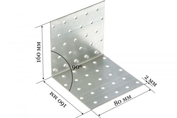 Уголок крепежный равносторонний KUR 160*160*80*2 мм