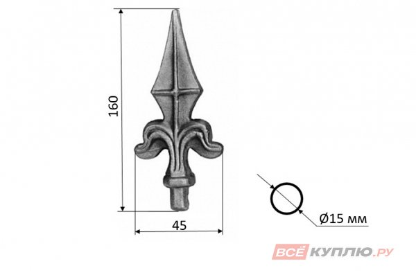 Пика 160 мм, основание Ø15 мм горячештампованная (124/2)