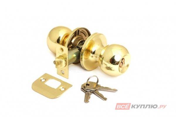 """Ручка-защелка """"Шарик"""" дверная с ключом Avers 6072-01-G золото"""