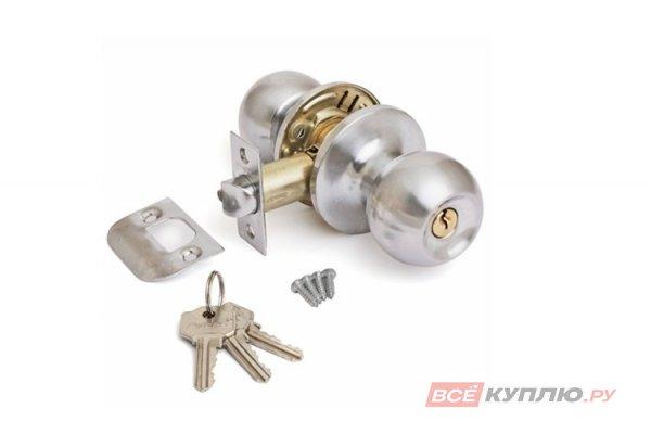 "Ручка-защелка ""Шарик"" дверная с ключом Avers 6072-01-NIS сатин"