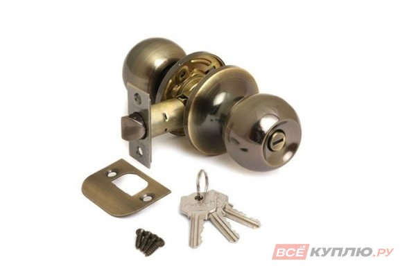 "Ручка-защелка ""Шарик"" дверная с ключом Avers 6072-01-AB бронза"