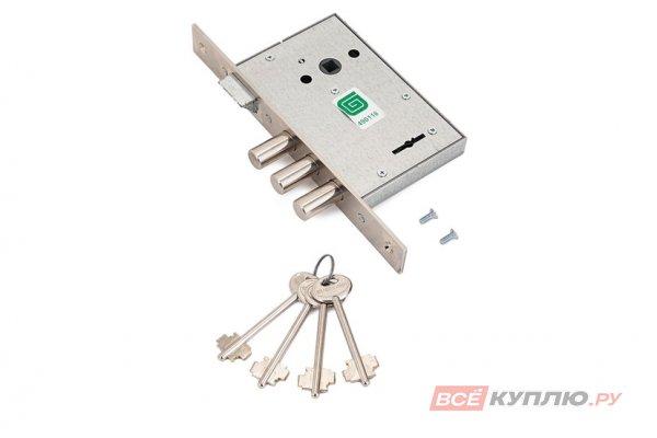 Замок врезной Гардиан 1011 4 ключа ЗЩ б/о без/накл м/о 77 мм (2459)