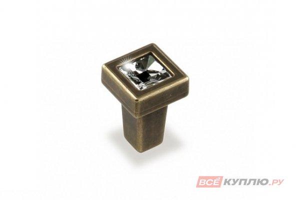 Ручка-кнопка мебельная FB-018 000 бронза полированная/кристалл (TS)