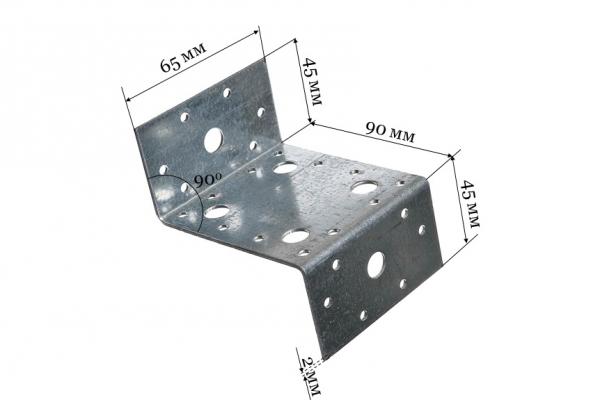 Уголок крепежный Z-образный KUZ 45*90*65 мм