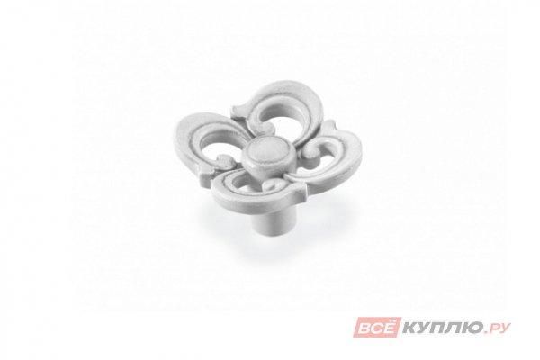 Ручка-кнопка мебельная FB-058 FB-058 серебро прованс/9003 белый матовый