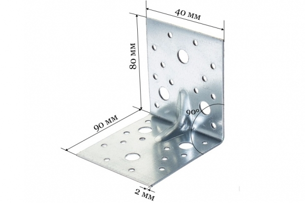 Уголок крепежный усиленный KUU 80*90*40*2 мм