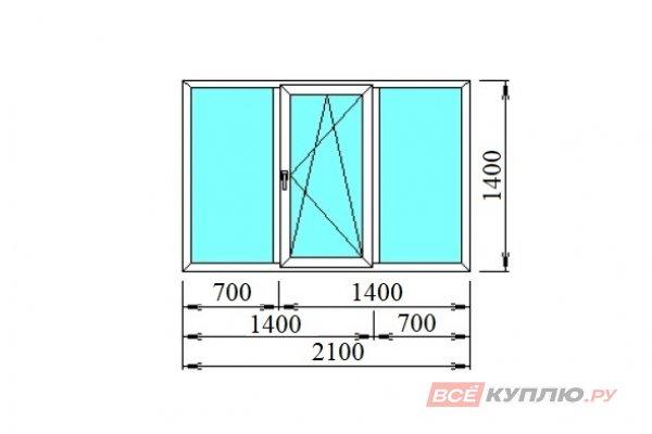 Окно ПВХ трёхстворчатое 2100*1400 мм глухое/поворотно-откидное/глухое
