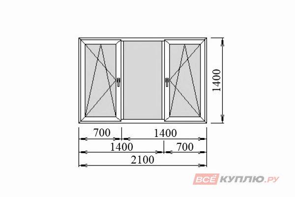 Окно ПВХ Deceuninck трёхстворчатое 2100*1400 мм поворотно-откидное/глухое/поворотно-откидное
