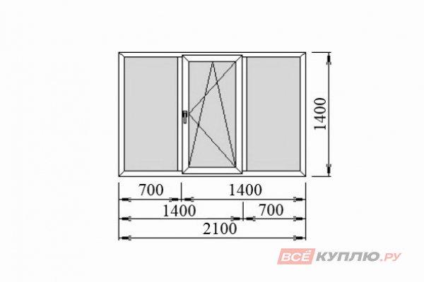 Окно ПВХ Deceuninck трёхстворчатое 2100*1400 мм глухое/поворотно-откидное/глухое