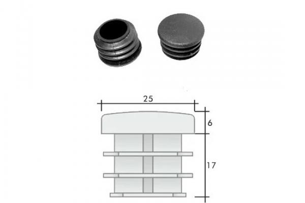 Заглушка ПВХ на круглую трубу внутренняя D=25 мм