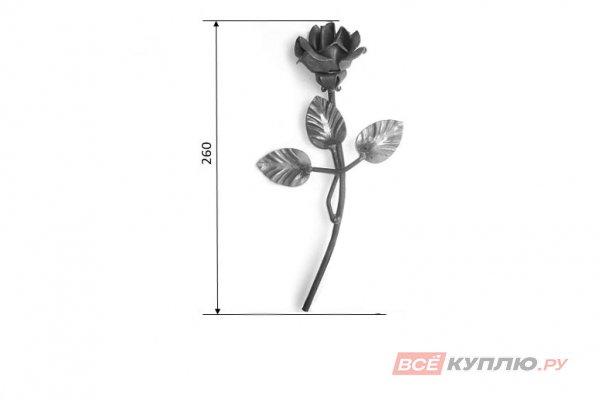 Роза с листочками 260 мм Ø6 мм штамп (32/10)