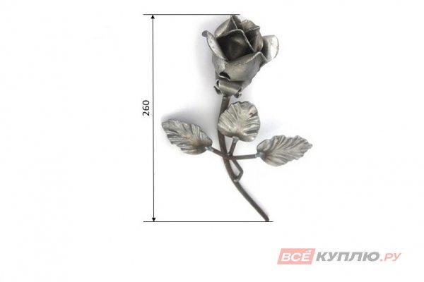 Роза с листочками 260 мм Ø6 мм штамп (32/09)