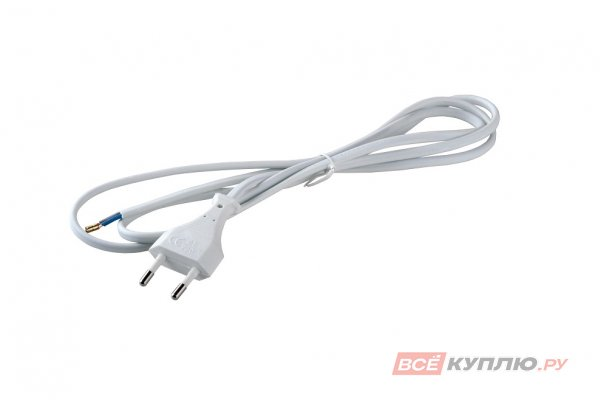 Провод сетевой 220B,1,8 м ШВВП-ВП 2х0,5 мм с вилкой белый