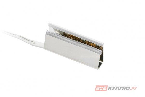 Клипса металлическая для стеклянной полки светодиодная на стекло 8 мм, 3 диода SMD5050 0,6W, 12V, с кабелем 2м и разъемом RGB